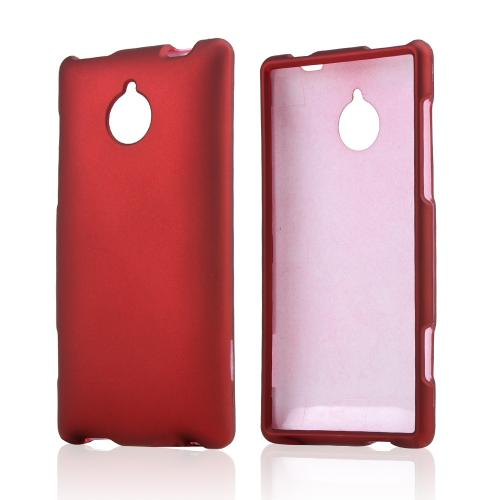 Red Rubberized Hard Case for HTC 8XT