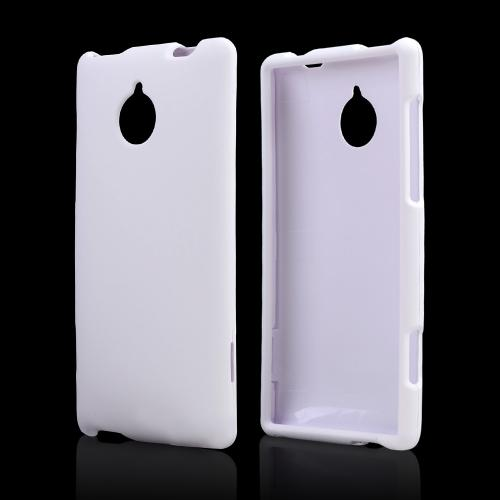 White Rubberized Hard Case for HTC 8XT