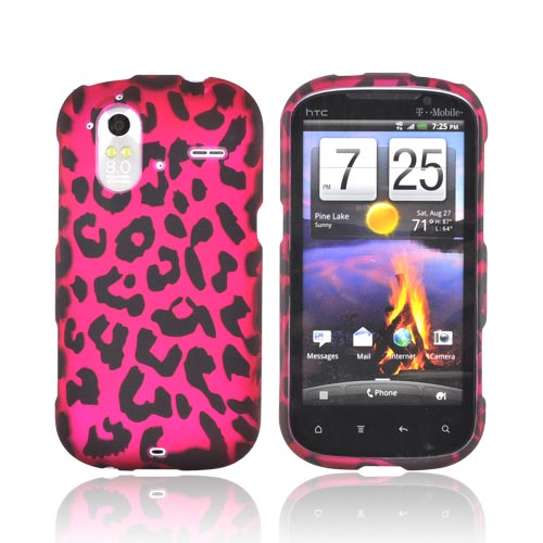 HTC Amaze 4G Rubberized Hard Case - Hot Pink/ Black Leopard