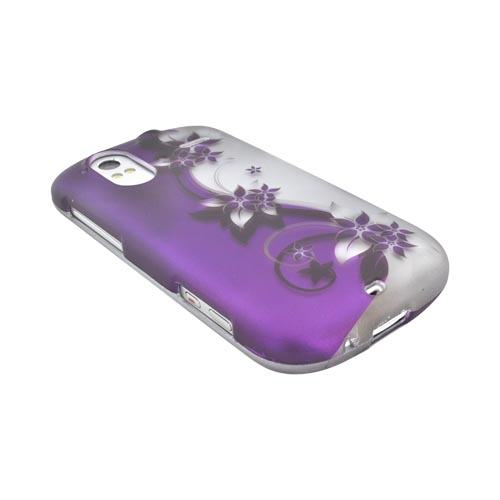 HTC Amaze 4G Rubberized Hard Case - Purple Flowers/ Vines on Silver