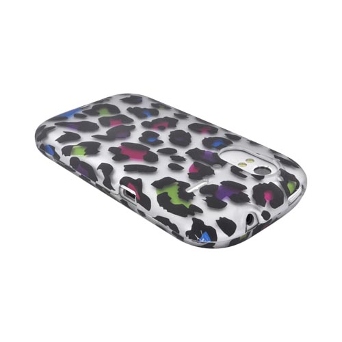 HTC Amaze 4G Rubberized Hard Case - Rainbow Leopard on Silver