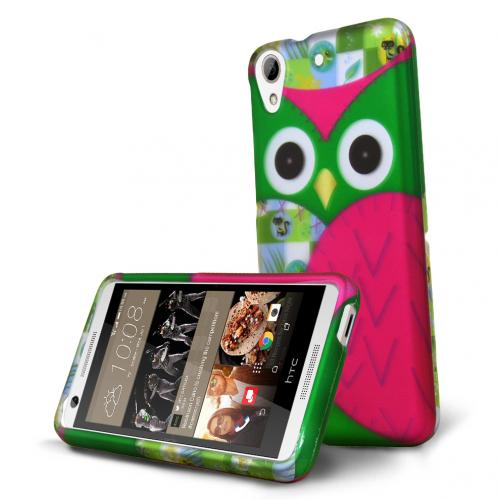 HTC Desire 626 Case, [Green Owl] Slim & Protective Rubberized Matte Hard Plastic Case
