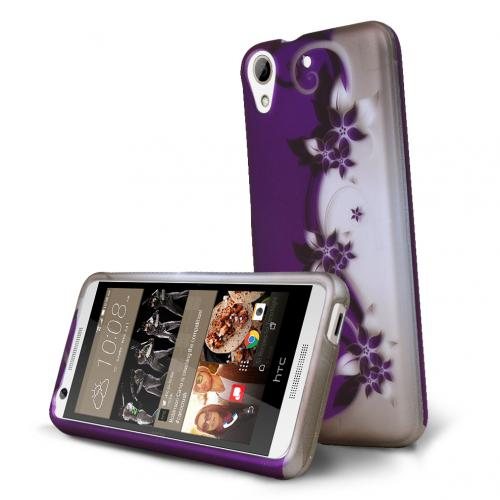 HTC Desire 626 Case, [Purple Vines] Slim & Protective Rubberized Matte Hard Plastic Case