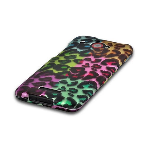 Multi-Colored Artsy Leopard Rubberized Hard Case for HTC Droid DNA