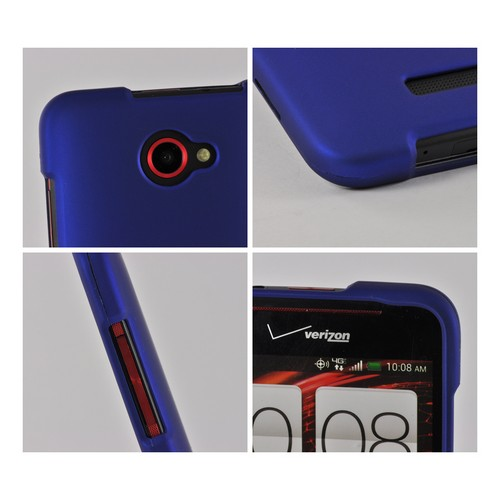 Blue Rubberized Hard Case for HTC Droid DNA