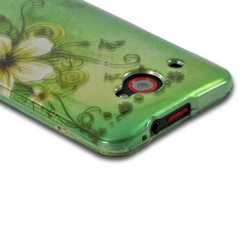 White Hawaiian Flowers on Green Rubberized Hard Case for HTC Droid DNA