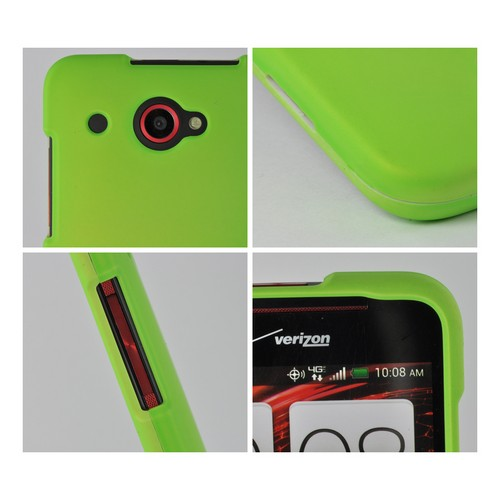 Neon Green Rubberized Hard Case for HTC Droid DNA