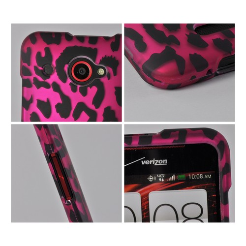 Hot Pink/ Black Leopard Rubberized Hard Case for HTC Droid DNA