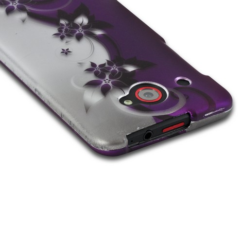 Purple Flowers/ Vines on Silver Rubberized Hard Case for HTC Droid DNA