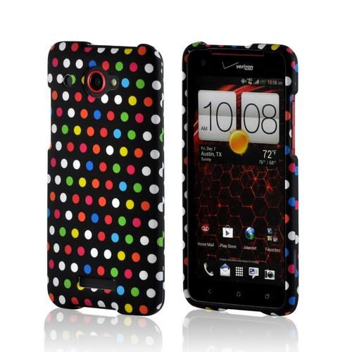 Rainbow Polka Dots on Black Rubberized Hard Case for HTC Droid DNA