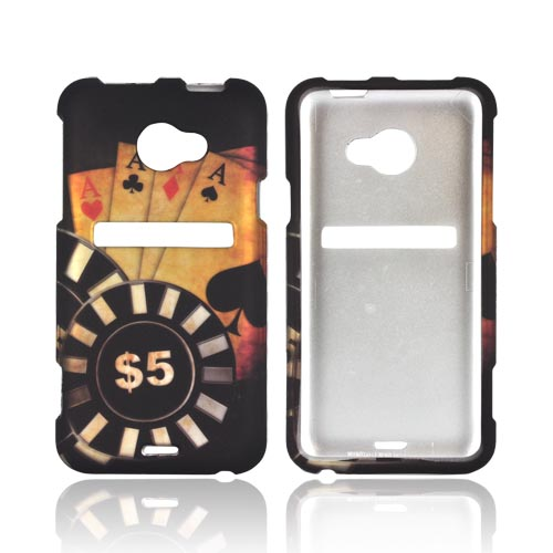 HTC EVO 4G LTE Rubberized Hard Case - Black/ Gold Aces Poker