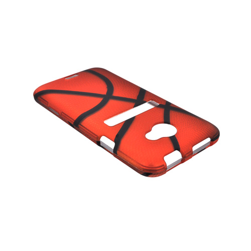 HTC EVO 4G LTE Rubberized Hard Case - Orange/ Black Basketball