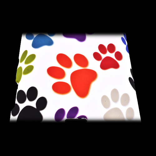 HTC EVO 4G LTE Rubberized Hard Case - Colorful Paw Prints on Silver