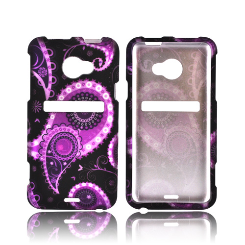HTC EVO 4G LTE Rubberized Hard Case - Purple/ Black Paisley