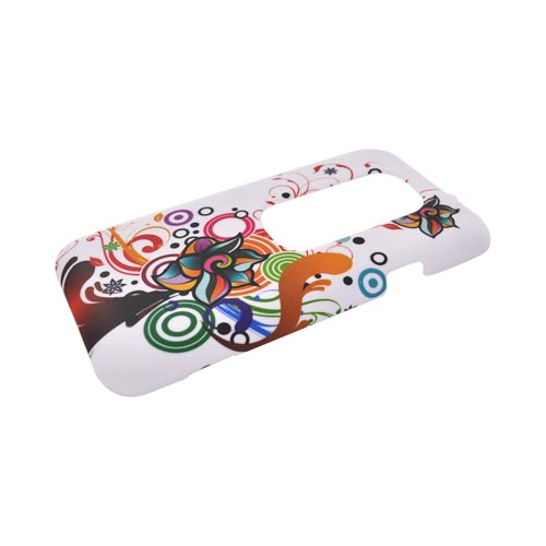 HTC EVO 3D Rubberized Hard Case - Rainbow Autumn Floral Design on White