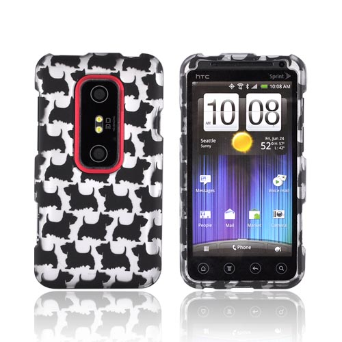 HTC EVO 3D Rubberized Hard Case - Black Schnauzers on Silver