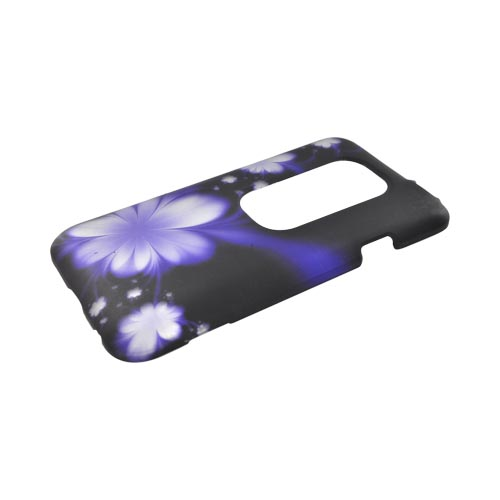 HTC EVO 3D Rubberized Hard Case - Purple Flower on Black