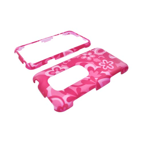 HTC EVO 3D Rubberized Hard Case - Hot Pink/ Baby Pink Flowers