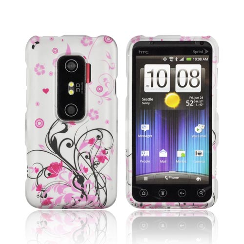 HTC EVO 3D Rubberized Hard Case - Pink Vines & Flowers on Silver