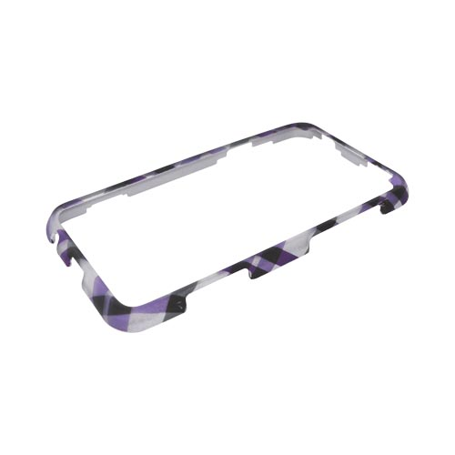 HTC EVO 3D Rubberized Hard Case - Purple & Green Plaid on Gray