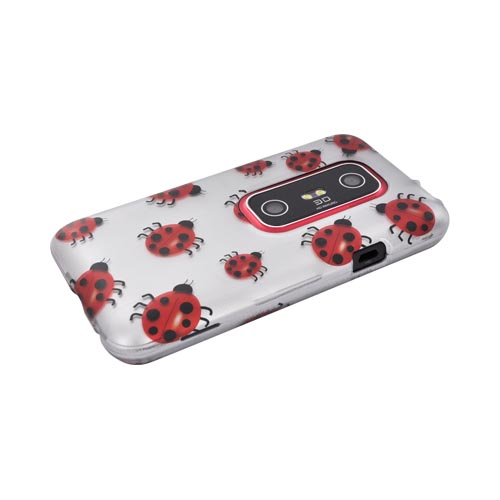 HTC EVO 3D Rubberized Hard Case - Red Ladybugs on Silver