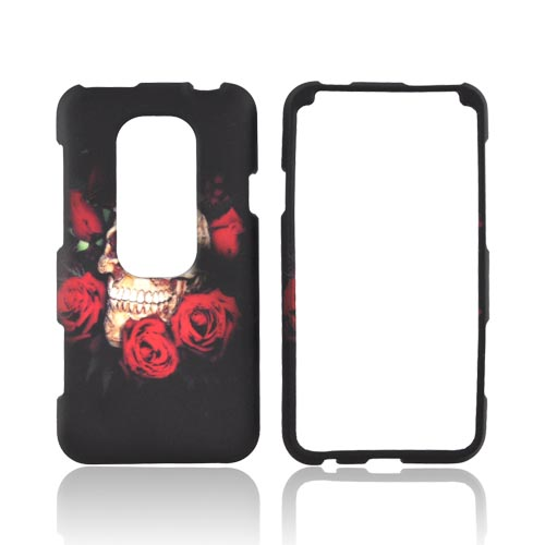 HTC EVO 3D Rubberized Hard Case - Skull & Roses on Black