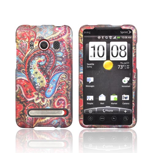 HTC EVO 4G Rubberized Hard Case - Enticing Peacock