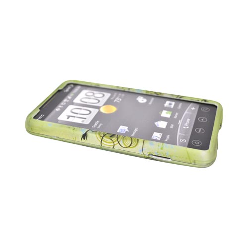 HTC EVO 4G Rubberized Hard Case - Hawaiian Flowers on Green