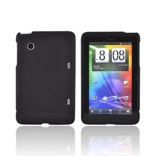 HTC EVO View 4G/ HTC Flyer Rubberized Hard Case - Black