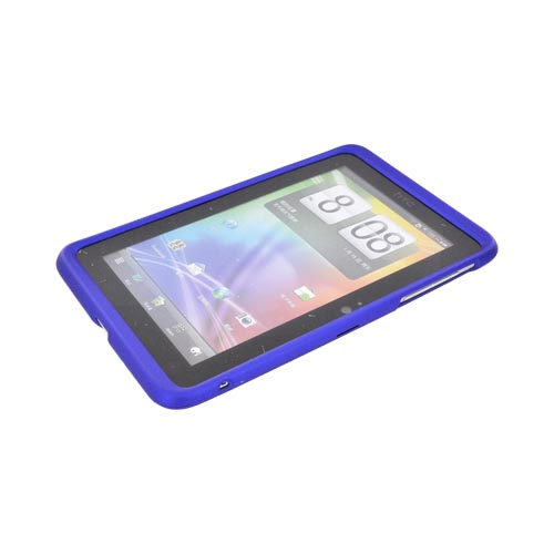 HTC EVO View 4G/ HTC Flyer Rubberized Hard Case - Blue