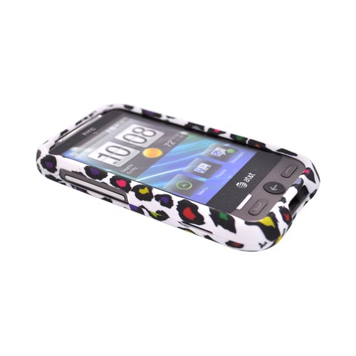 HTC FreeStyle Rubberized Hard Case - Colorful Leopard on White