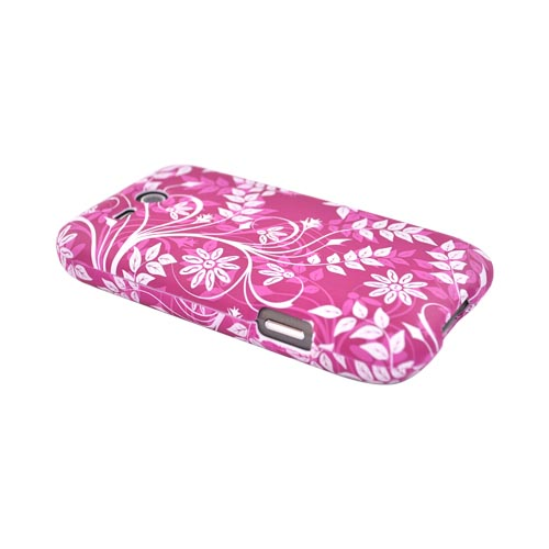 HTC FreeStyle Rubberized Hard Case - White Floral Design on Purple