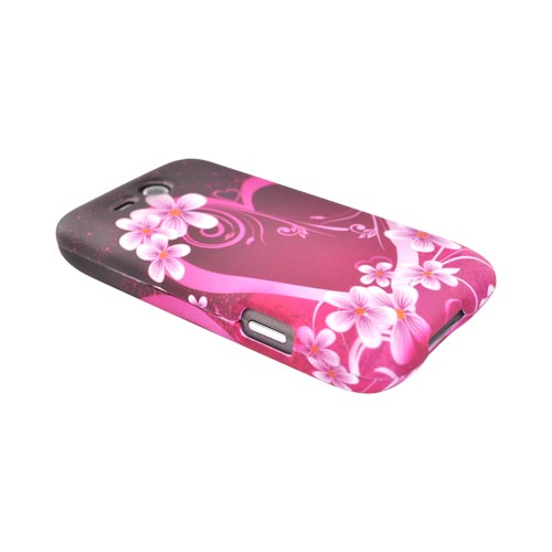 HTC FreeStyle Rubberized Hard Case - Pink Heart Flower