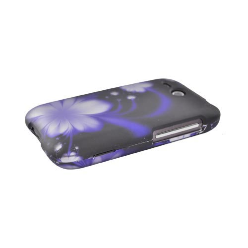 HTC FreeStyle Rubberized Hard Case - Purple Flower on Black