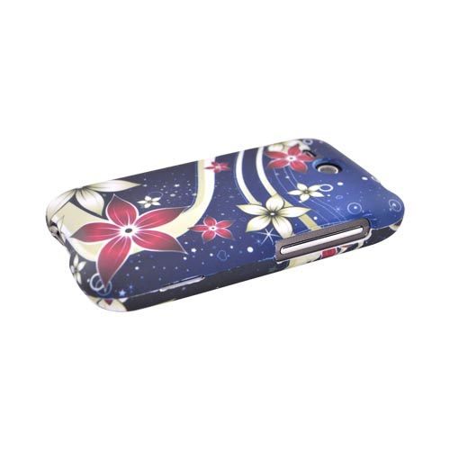 HTC FreeStyle Rubberized Hard Case - Red/White Flowers Galaxy Design on Blue