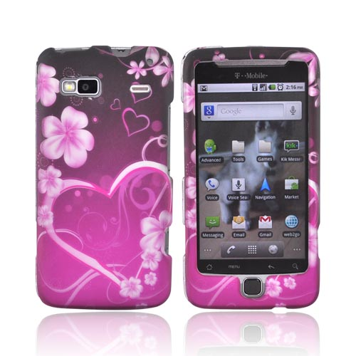 T-Mobile G2 Rubberized Hard Case - Pink Heart and Flowers on Black