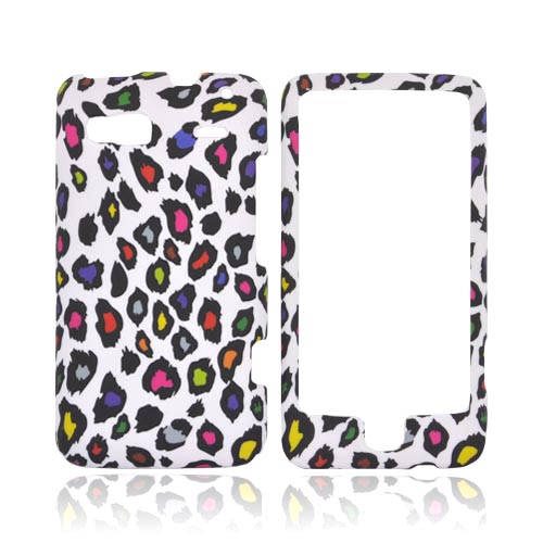 HTC G2 Rubberized Hard Case - Rainbow Leopard on White