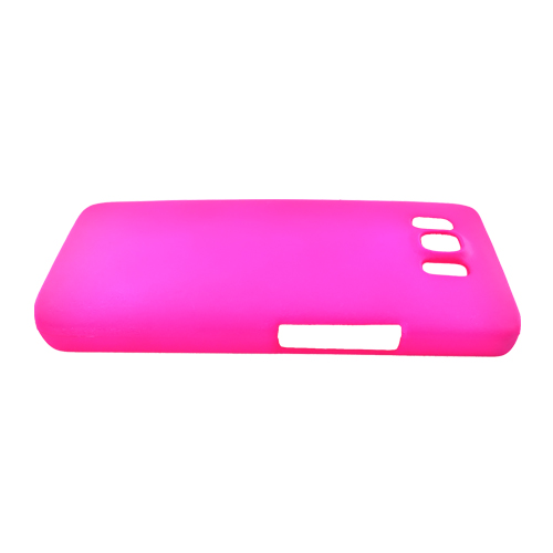 HTC HD2 Rubberized Hard Back Cover Case - Hot Pink