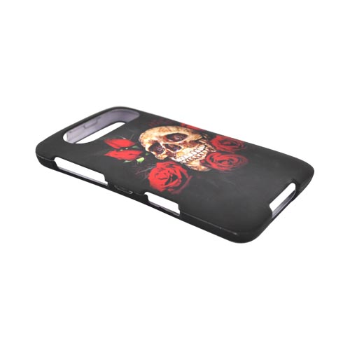 HTC HD7 / HTC HD7s Rubberized Hard Case - Red Roses and Skull on Black