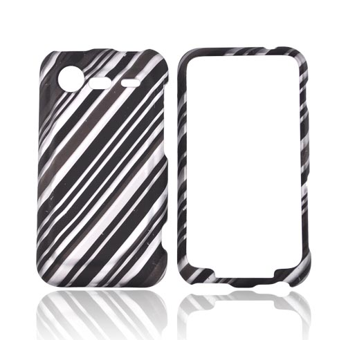 HTC Droid Incredible 2 Rubberized Hard Case - Black Lines on Gray