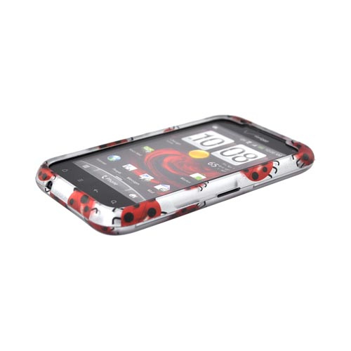 HTC Droid Incredible 2 Rubberized Hard Case - Red Ladybugs on Silver