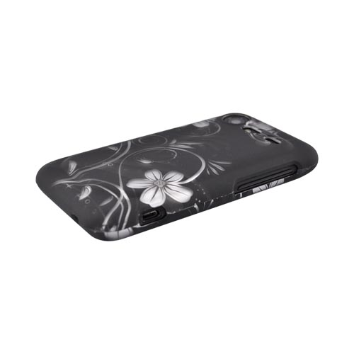 HTC Droid Incredible 2 Rubberized Hard Case - White Flowers on Black