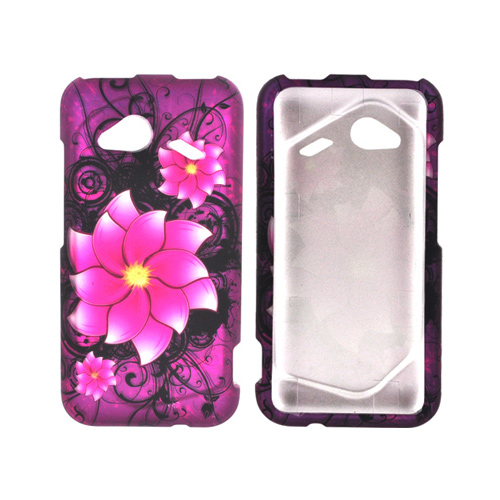 HTC Droid Incredible 4G Rubberized Hard Case - Pink Divine Flower on Purple