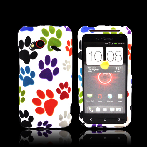HTC Droid Incredible 4G LTE Rubberized Hard Case - Colorful Paw Prints on White