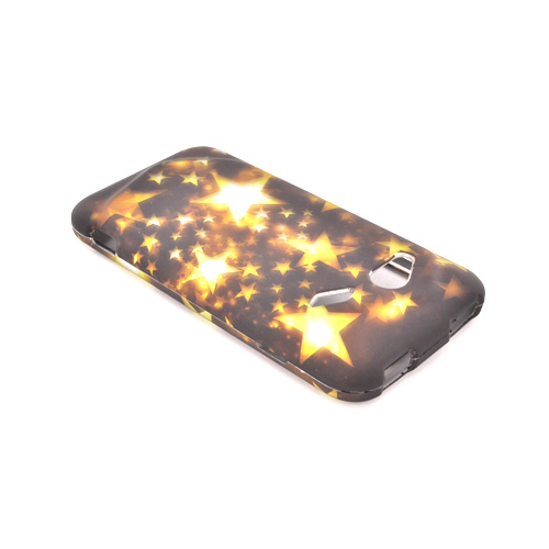 HTC Droid Incredible 4G Rubberized Hard Case - Yellow/ Gold Stars on Espresso Brown