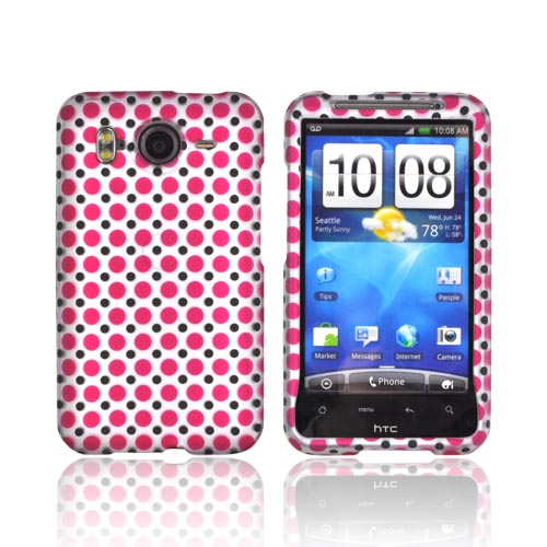 HTC Inspire 4G Rubberized Hard Case - Pink/ Black Polka Dots on Silver