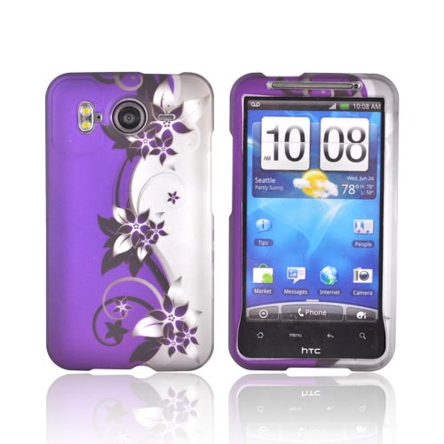 HTC Inspire 4G Rubberized Hard Case - Purple Flowers on Gray/ Purple