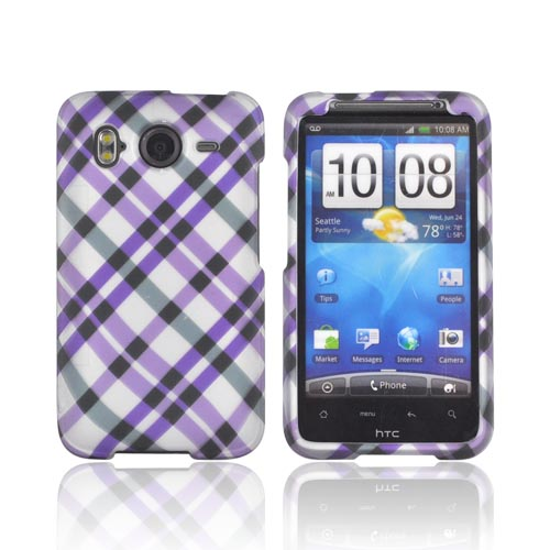 HTC Inspire 4G Rubberized Hard Case - Purple/ Gray Plaid on Silver