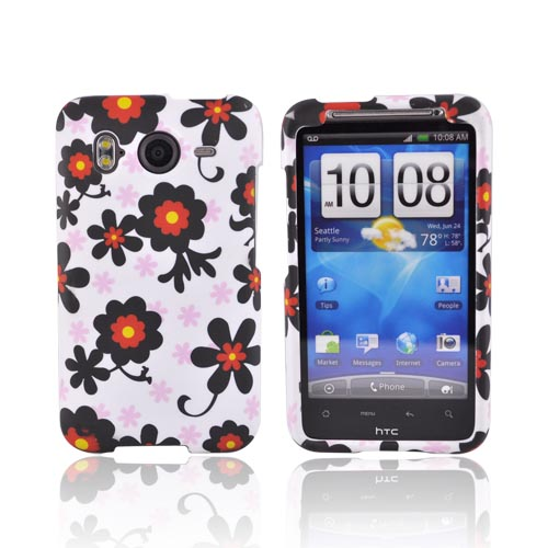 HTC Inspire 4G Rubberized Hard Case - Black Daisies on White