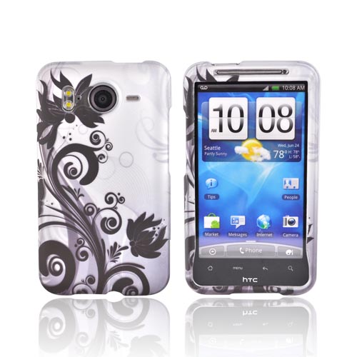HTC Inspire 4G Rubberized Hard Case - Black Floral Design on Silver